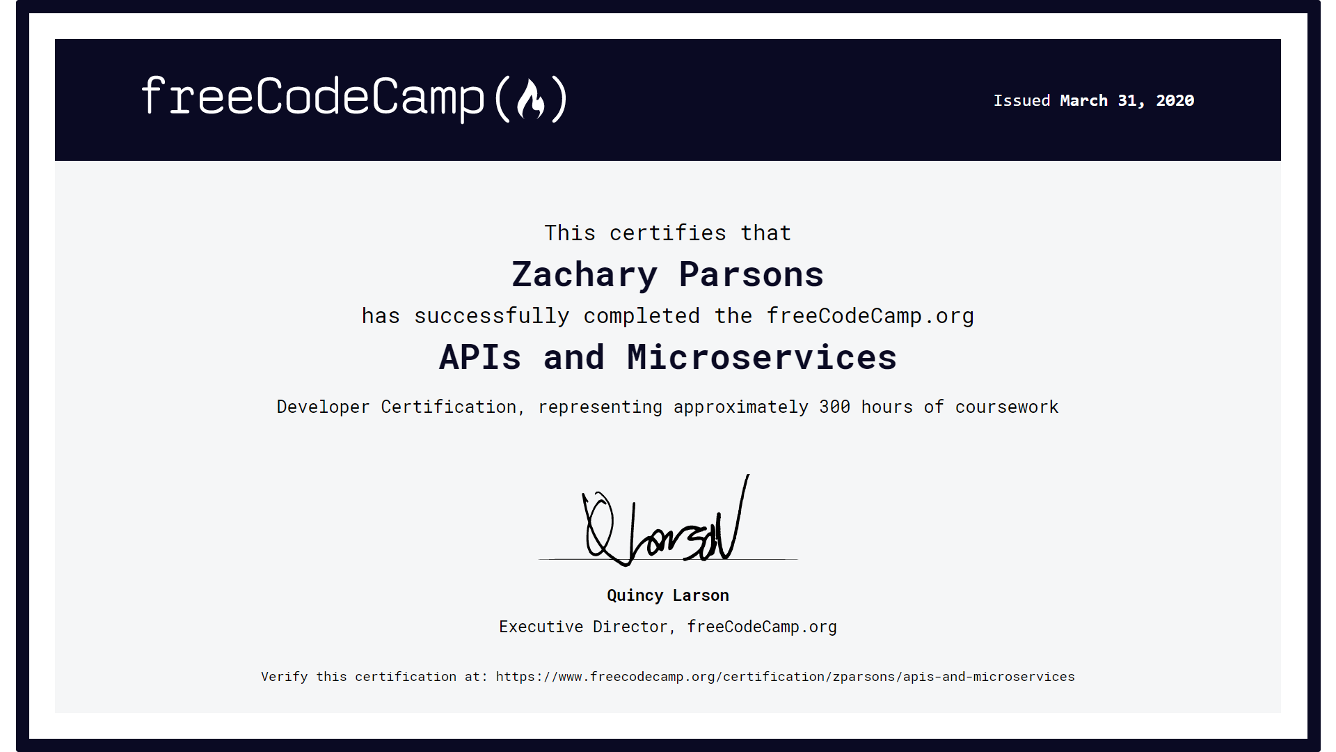 Zachary Parsons - APIs and Microservices Certificate from Free Code Camp